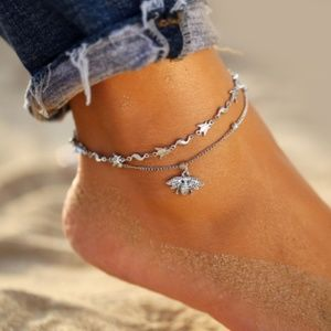Boho Silver Bee Anklet